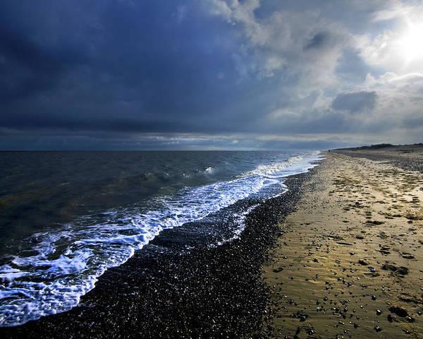 Sea Poster featuring the photograph Sun Light On Dunwich Beach by Darren Burroughs