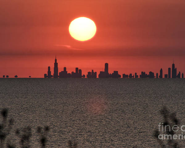 Chicago Poster featuring the photograph Sun Setting Over Chicago by Christopher Purcell