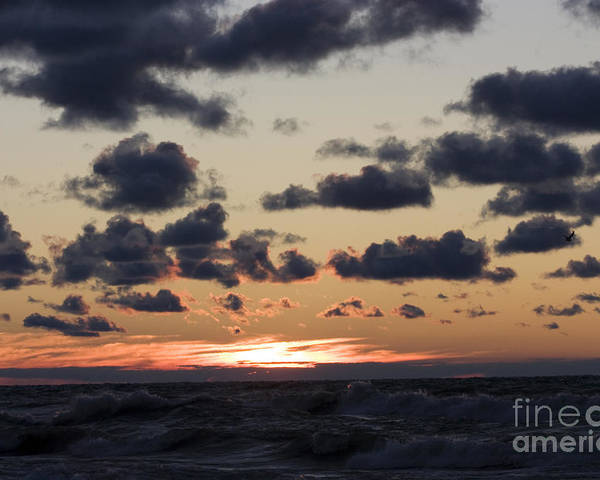 Horizontal Poster featuring the photograph Sun Setting With Dramatic Clouds Over Lake Michigan by Christopher Purcell