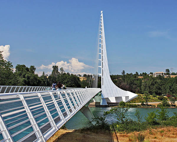 Sundial Bridge Poster featuring the photograph Sundial Bridge - Sit And Watch How Time Passes By by Christine Till