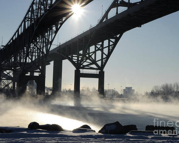 Fog Poster featuring the photograph Sunrise Blue Water Bridges Fog by Ronald Grogan