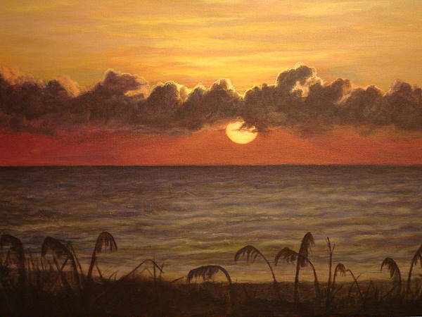 Seascape Paintings Poster featuring the painting Sunrise In Vero by Arthur Morehead