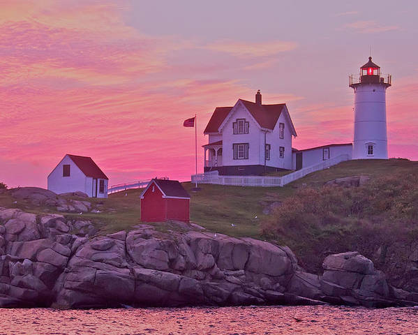 Lighthouse Poster featuring the photograph Sunrise Nubble Lighthouse by Dale J Martin