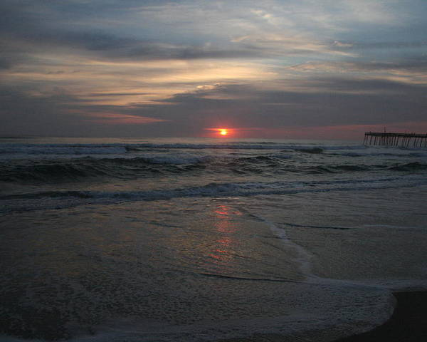 Sunrise Poster featuring the photograph Sunrise Obx by Andrea Stuart-Bishop