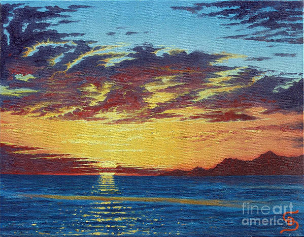 Seascapes Poster featuring the painting Sunrise Over Gonzaga Bay by Dumitru Sandru