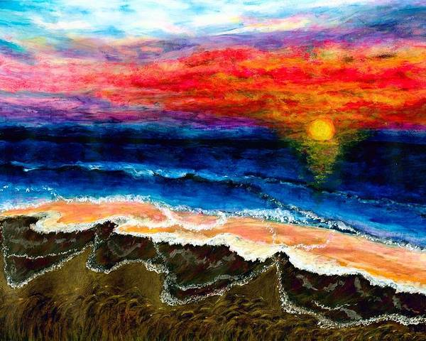 Sunset Poster featuring the painting Sunset After the Storm by Tanna Lee M Wells