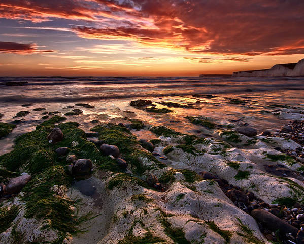 Sunset Poster featuring the photograph Sunset At Birling Gap by Mark Leader