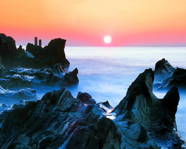 Horizontal Poster featuring the photograph Sunset At Sea With Rocks In Foreground by Midori Chan-lilliphoto
