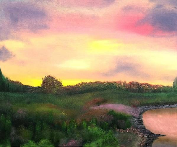 Landscape Poster featuring the painting Sunset At The Lake by Amity Traylor