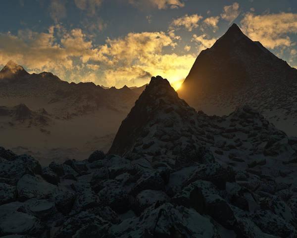 Hakon Poster featuring the digital art Sunset In The Stony Mountains by Hakon Soreide