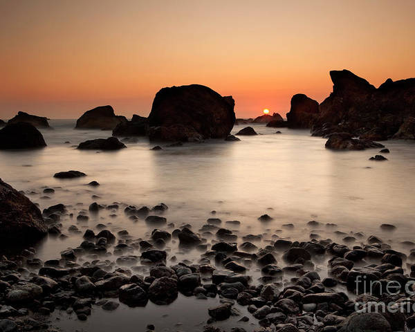 Water Photography Poster featuring the photograph Sunset On A Rock by Keith Kapple