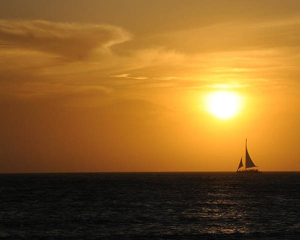 Aruba Poster featuring the photograph Sunset On Aruba 1 by David Van Zet