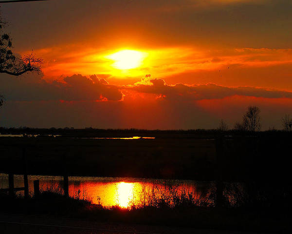 Landscape Poster featuring the photograph Sunset On The Bayou by John Blanchard