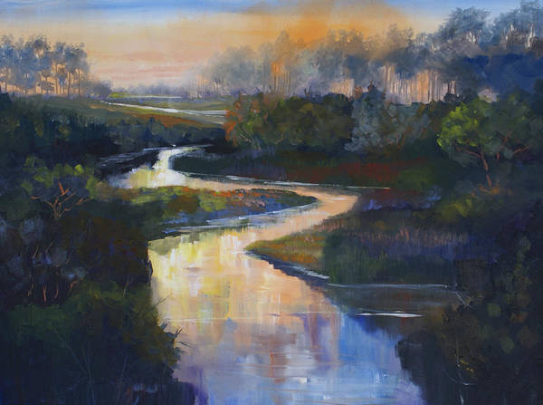 Sunset St. Vrain Poster featuring the painting Sunset on the St. Vrain by Heather Coen
