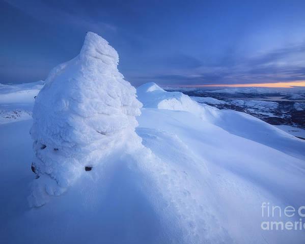 Norway Poster featuring the photograph Sunset On The Summit Toviktinden by Arild Heitmann