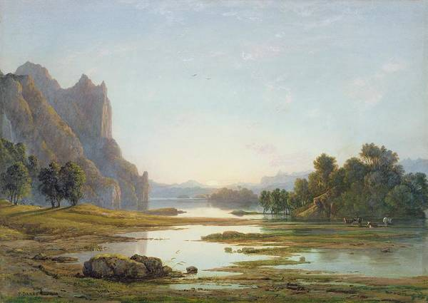 Sunset Poster featuring the painting Sunset Over A River Landscape by Francis Danby