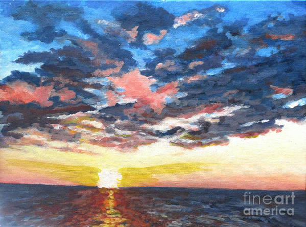 Seascape Poster featuring the painting Sunset Over Green Bay by Judith Reidy