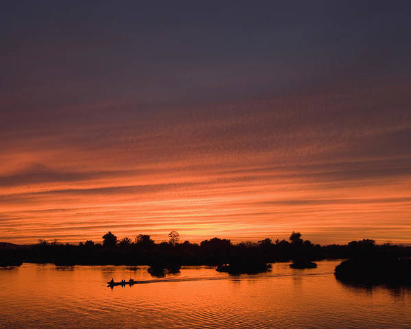 No People Poster featuring the photograph Sunset Over River by Axiom Photographic