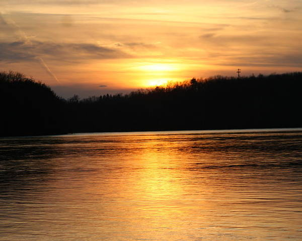 Connecticut Poster featuring the photograph Sunset Over The Connecticut River by David Dinsdale