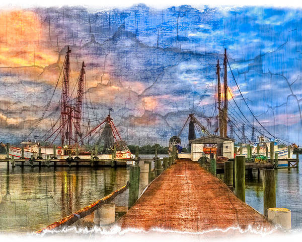 Boats Poster featuring the photograph Sunset Shrimping II by Debra and Dave Vanderlaan
