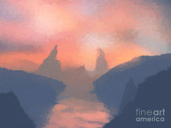Fantasy Art Poster featuring the painting Sunset Valley by Pixel Chimp