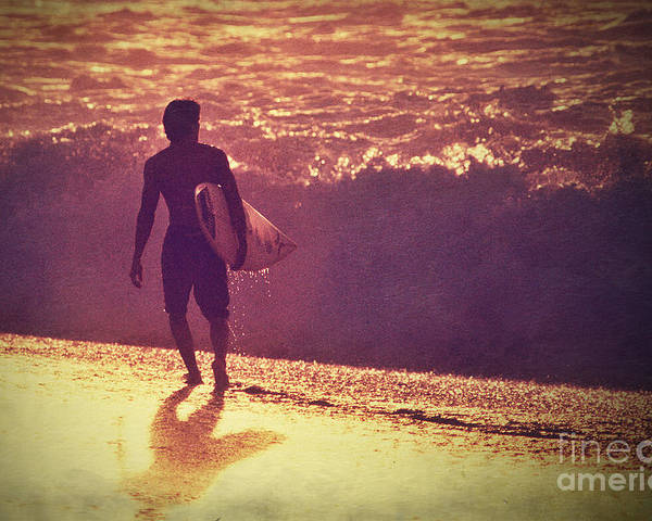 Sunset Poster featuring the photograph Surfer At Sunset by Paul Topp