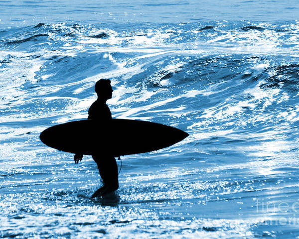 Blue Poster featuring the photograph Surfer Silhouette by Carlos Caetano