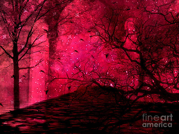 Surreal Nature Prints Poster featuring the photograph Surreal Fantasy Red Nature Trees And Birds by Kathy Fornal