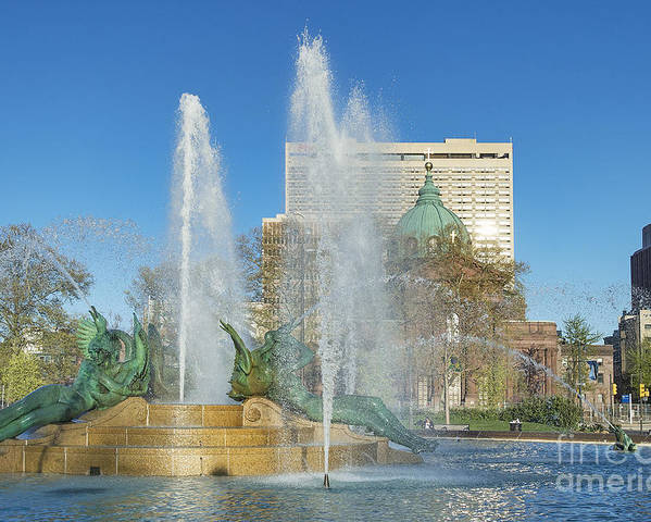 swann Fountain Poster featuring the photograph Swann Fountain At Logan's Circle by John Greim