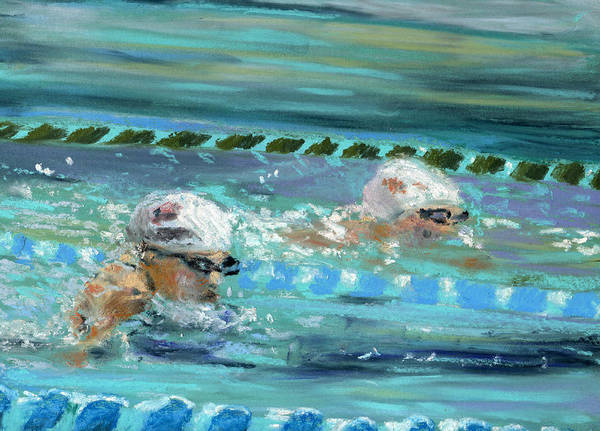 Pastels Poster featuring the pastel Swimmers by Paul Mitchell
