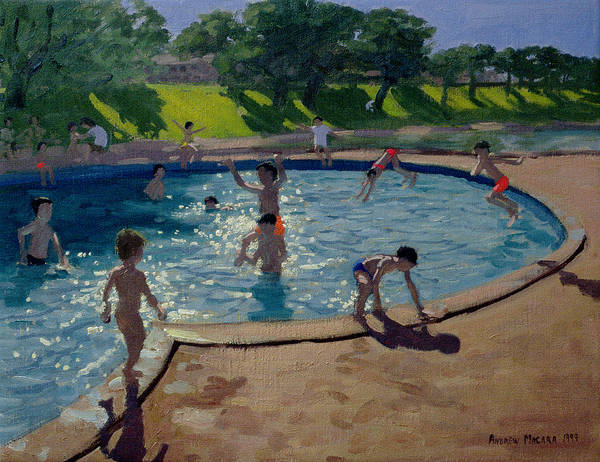 Summer Poster featuring the painting Swimming Pool by Andrew Macara
