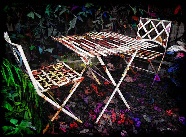 Botanical Poster featuring the photograph Table And Chairs by Joan Minchak