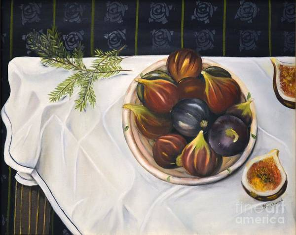 Figs Poster featuring the painting Table With Figs by Carol Sweetwood