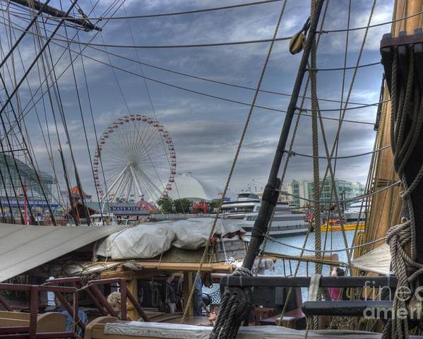 Tall Ships Poster featuring the photograph Tall Ships At Navy Pier by David Bearden