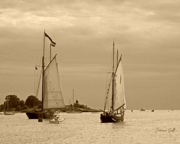 Tall Ships Poster featuring the photograph Tall Ships Sailing In Sepia by Suzanne Gaff