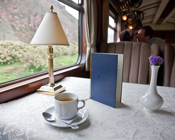 Color Image Poster featuring the photograph Tea Is Served By Peru Rail On The Way by Michael &Amp Jennifer Lewis