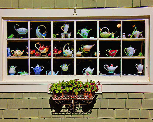 Tea Pots Window Poster featuring the photograph Tea Pots In Window by Garry Gay