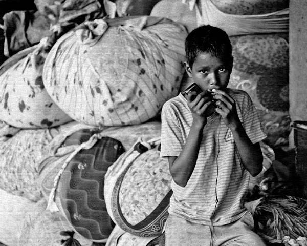 Male Poster featuring the photograph Technology In Sweatshop by Kantilal Patel