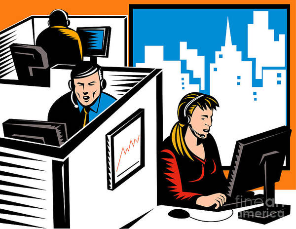 Illustration Poster featuring the digital art Telemarketer Office Worker Retro by Aloysius Patrimonio