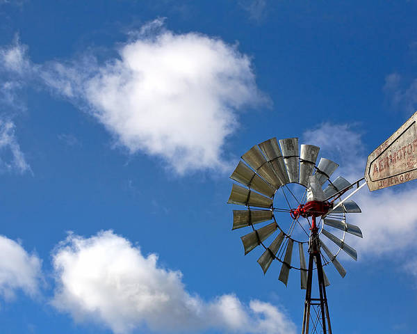 Clouds Poster featuring the photograph Temecula Wine Country Windmill by Peter Tellone