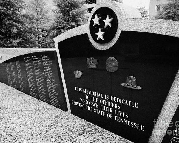 War Poster featuring the photograph tennessee state police officer memorial war memorial plaza Nashville Tennessee USA by Joe Fox