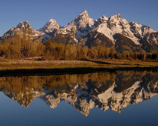 Mp Poster featuring the photograph Teton Range, Grand Teton National Park by Pete Oxford