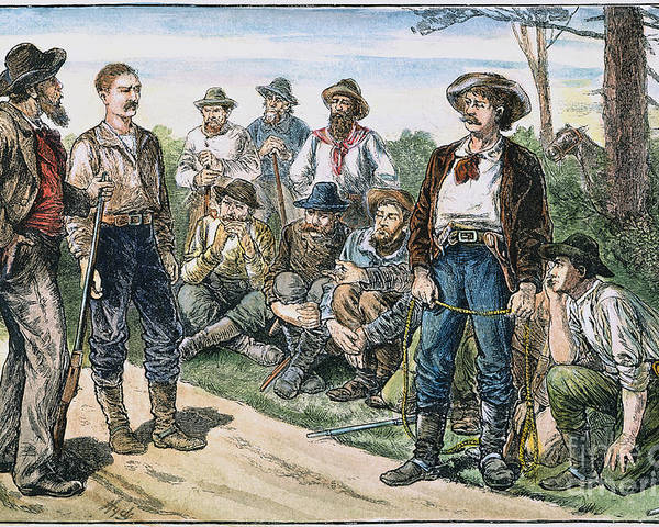 1880s Poster featuring the photograph Texas Vigilantes, C1881 by Granger