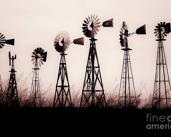 Texas Poster featuring the photograph Texas Windmills by Tamyra Ayles