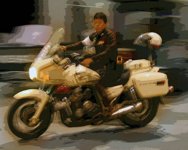 Interesting Poster featuring the photograph Thai Motorbike Police by Kantilal Patel