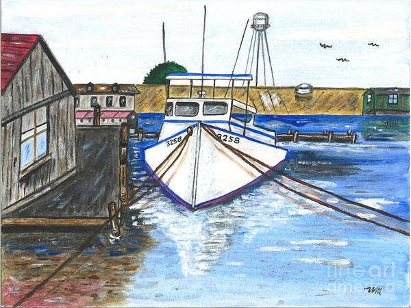 Harbor Poster featuring the painting The 3258 Boat by Sea Sons Home and Life