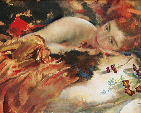 The Artist's Mistress (tempera On Panel) Vivienne Jeudwine; Female; Portrait; Lying Down; Bed; Intimate; Redhead; Red Hair; Pensive; Reclining; Flower Poster featuring the painting The Artist's Mistress by Charles Sims