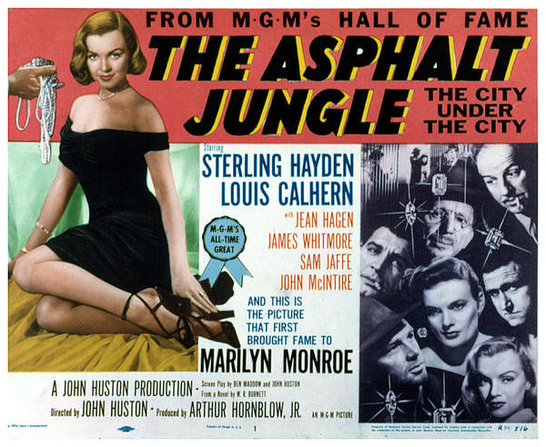 1950 Movies Poster featuring the photograph The Asphalt Jungle, Left Marilyn Monroe by Everett