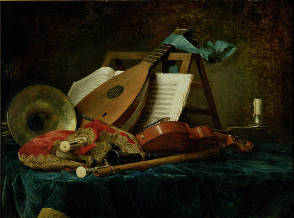 The Attributes Of Music Poster featuring the painting The Attributes Of Music by Anne Vallaer-Coster