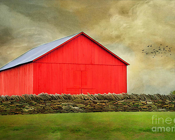 Agriculture Poster featuring the photograph The Big Red Barn by Darren Fisher